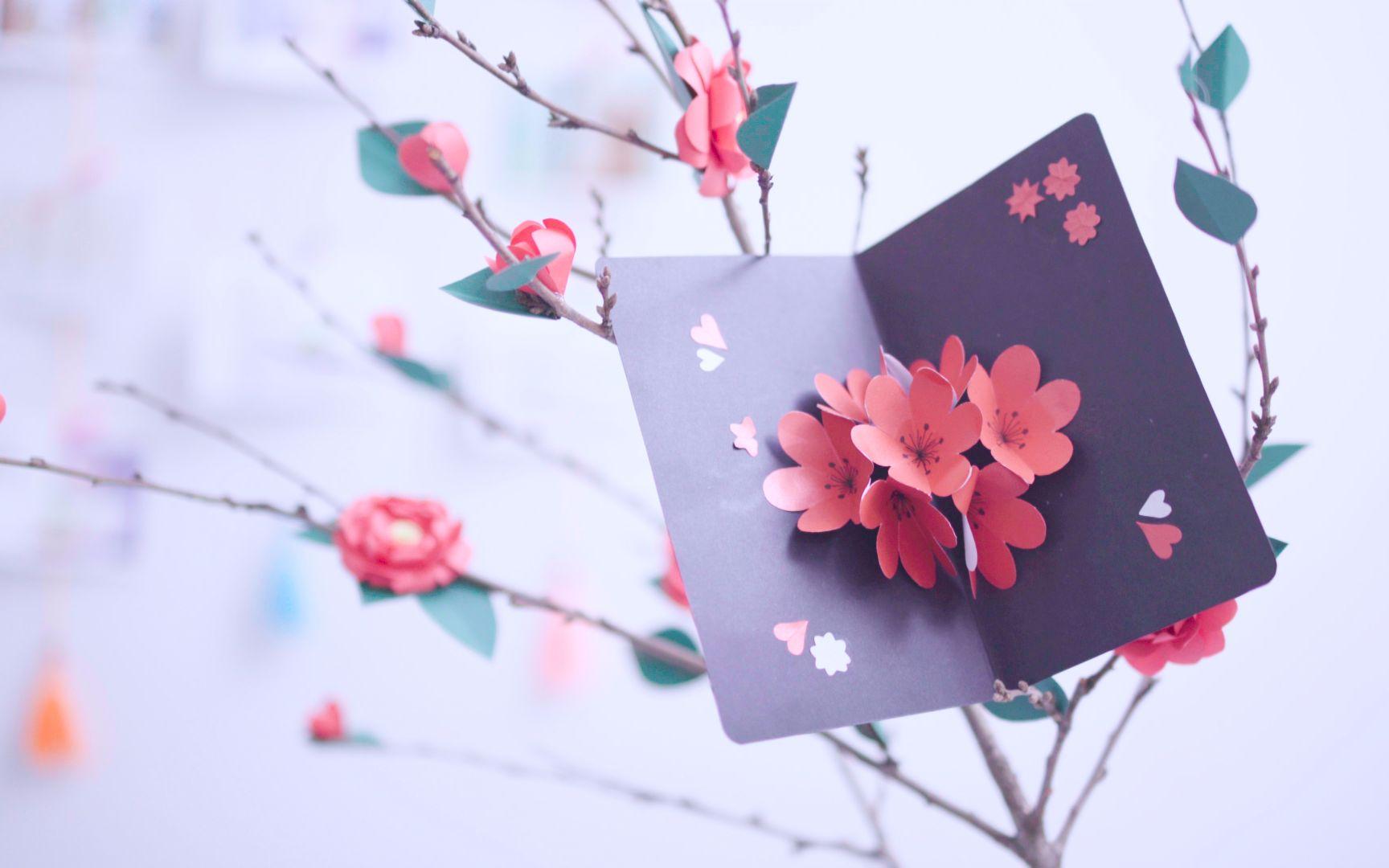 东西物语 | 创意折纸 - 立体花瓣贺卡_手工_生活__哔图片