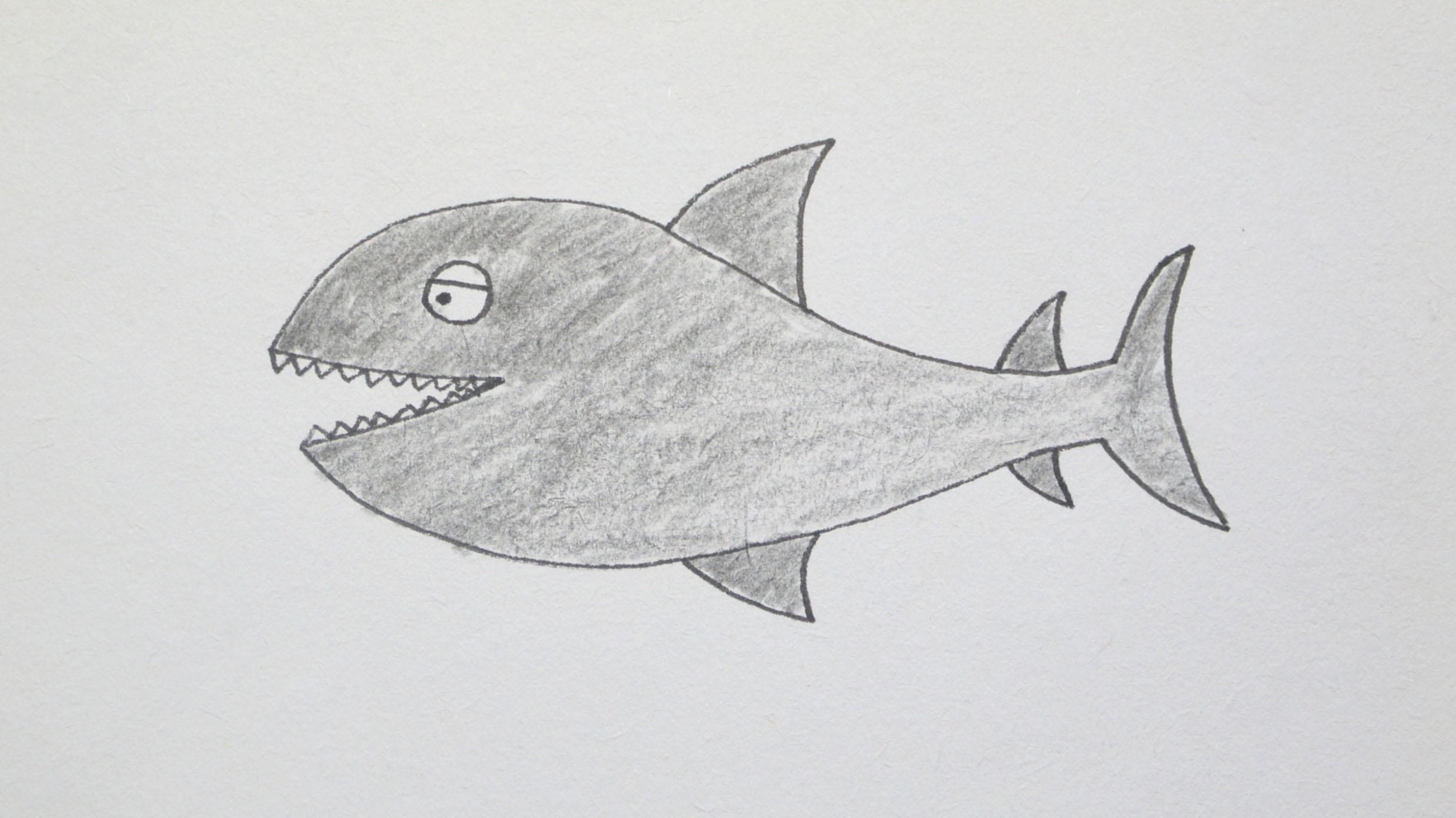 酷萌北鼻简笔画,幼儿学画鲨鱼的简笔画画法图片