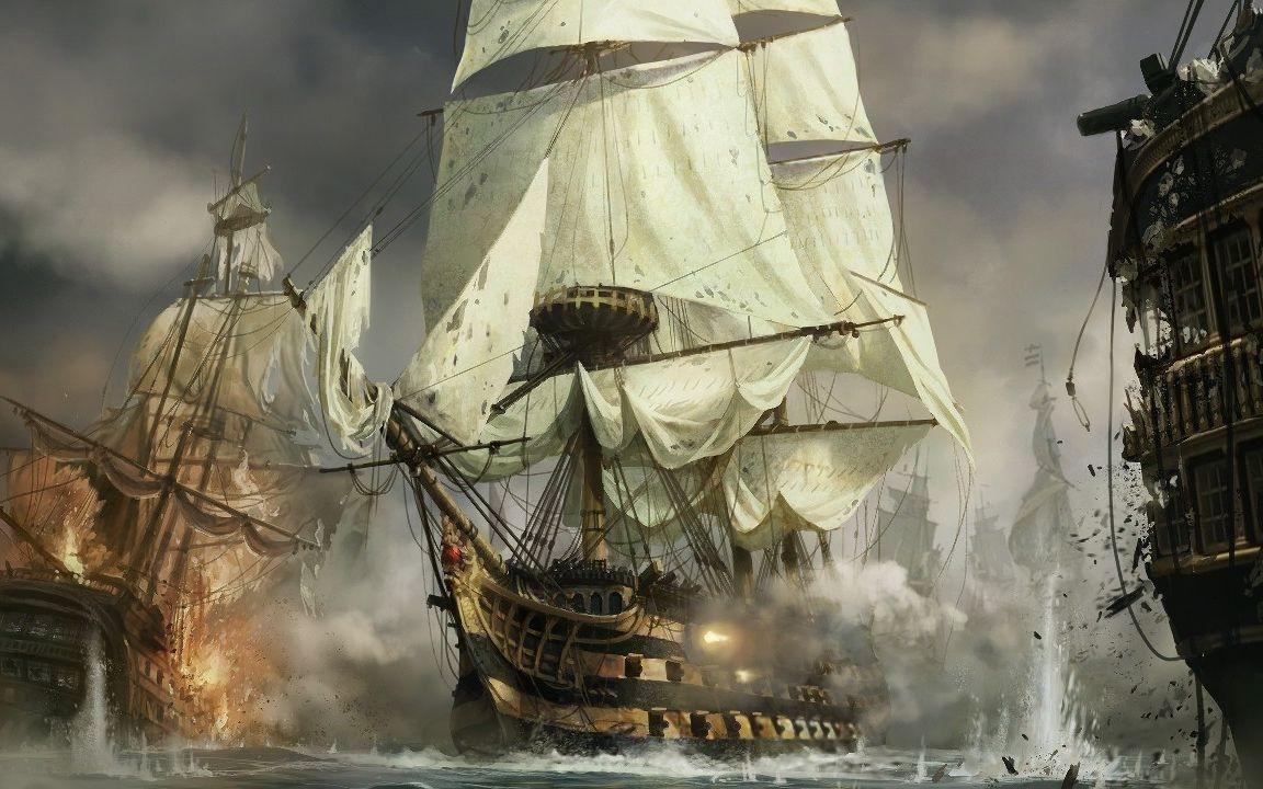【拿破仑 全面战争】2v2重炮巨舰海战!风帆vs蒸汽战舰
