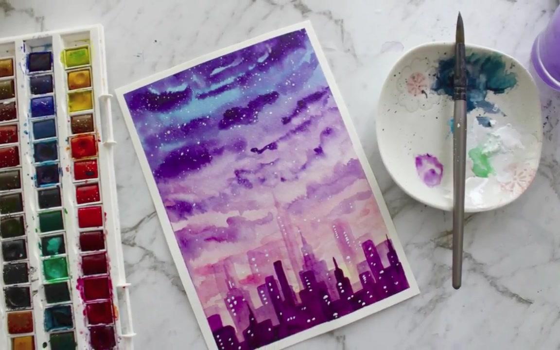 【水彩】用水彩颜料画夕阳和城市