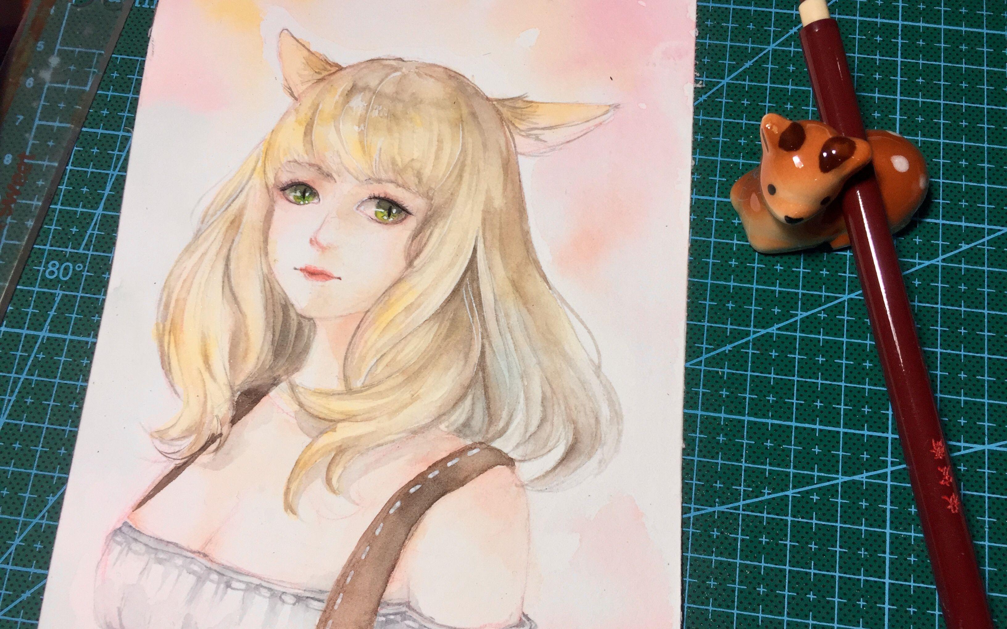 lulu酱【手绘水彩】喵喵喵~画一个最终幻想14猫女~(≥