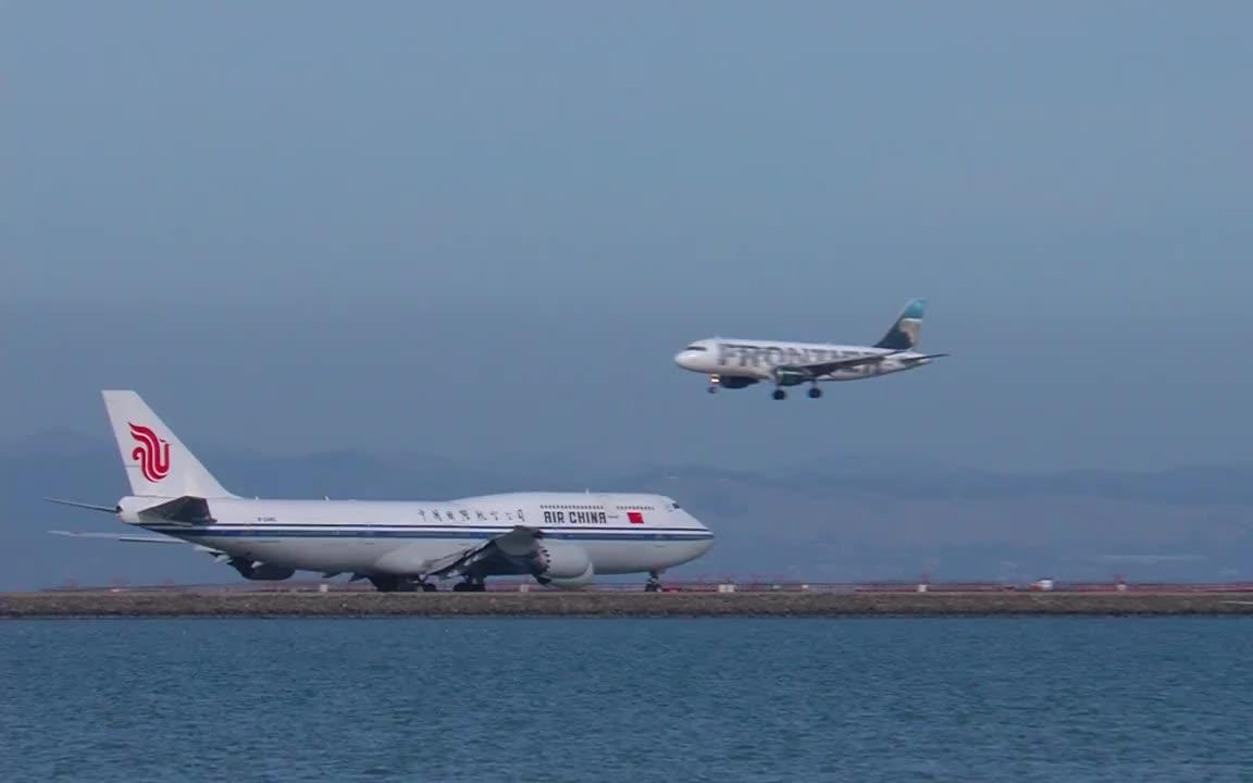 国航b-2485波音747-8旧金山机场