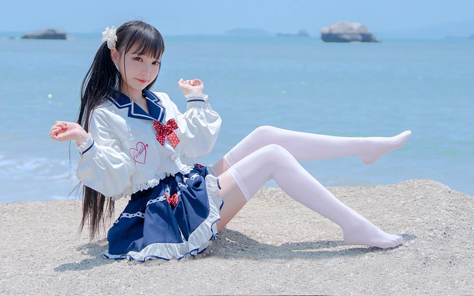 【咬人猫】沙滩上的水手服喵! ❤️ booo!