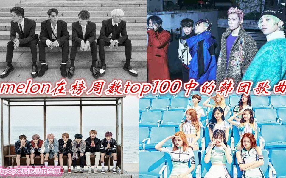 melon在榜周数top100中的韩团歌曲(截至六月第二周)