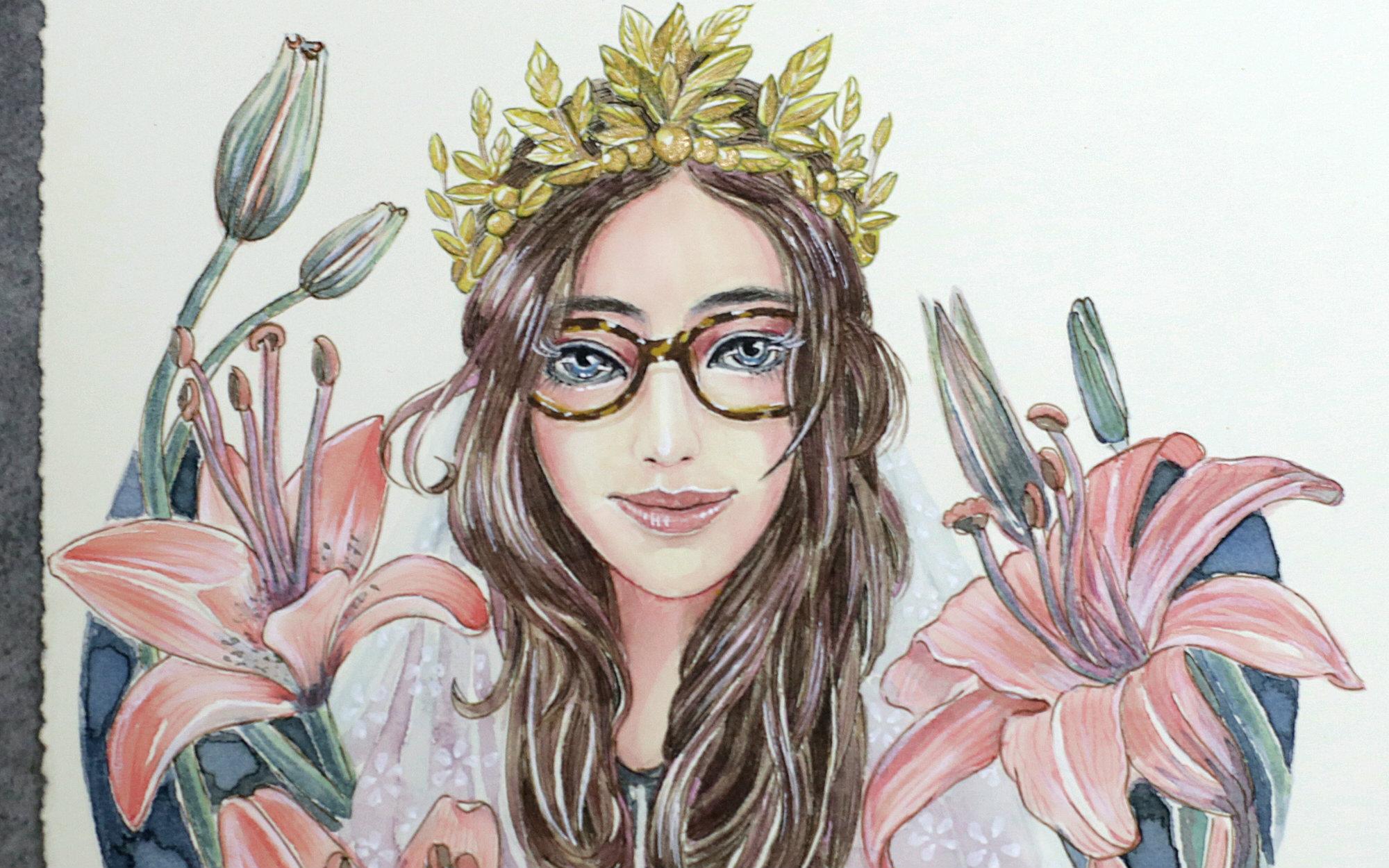 【水彩手绘】大八手绘-百合丛中的眼镜公主nancy东东酱