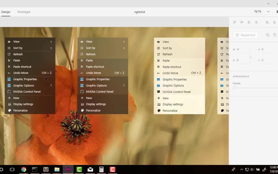 windows 10 右键菜单 fluent design 概念设计图片