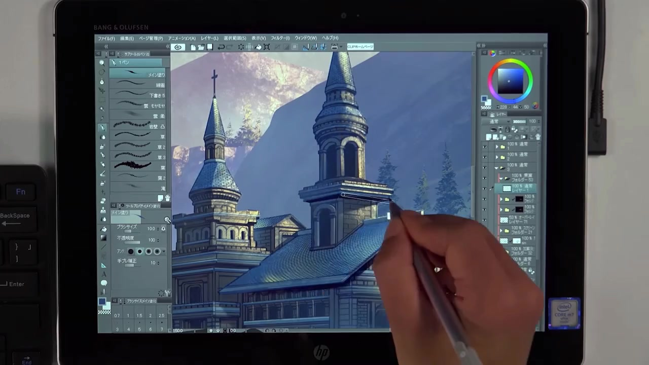 惠普HP Elite x2 1012 G1用CLIP STUDIO PAINT画城堡