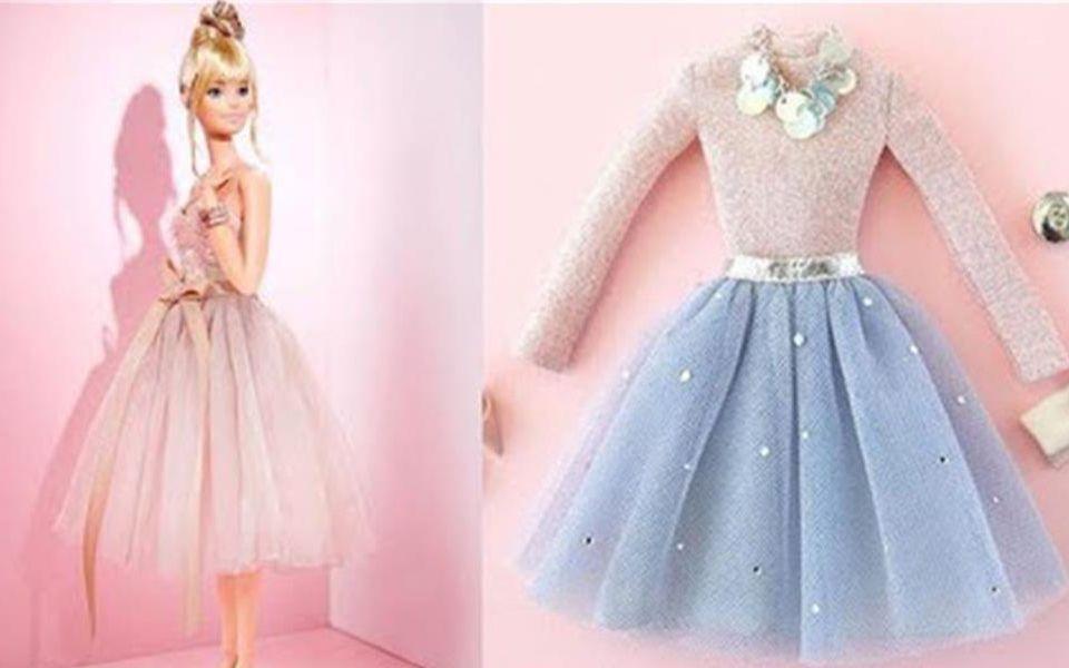 3个聪明的小技能,为芭比娃娃做些漂亮的衣服,方法简单巧妙 哔哩哔哩
