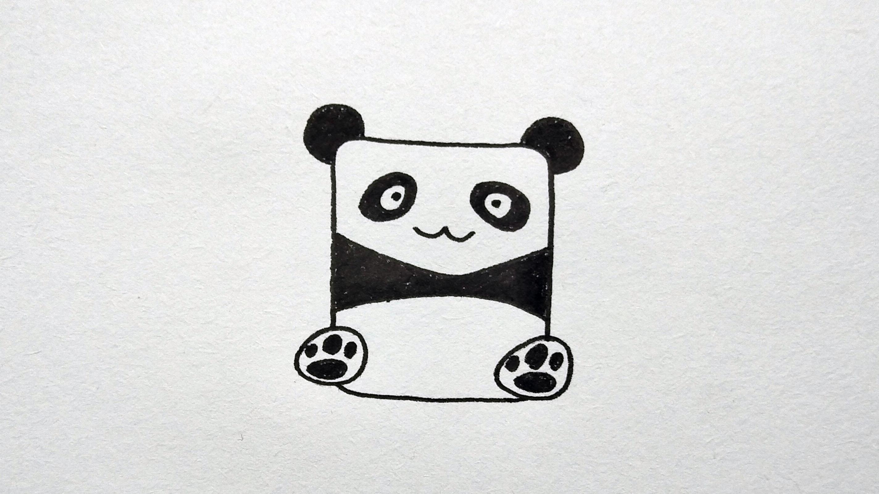 儿童简笔画卡通熊猫, 教会宝宝如何简单快速画完一只可爱小熊猫图片