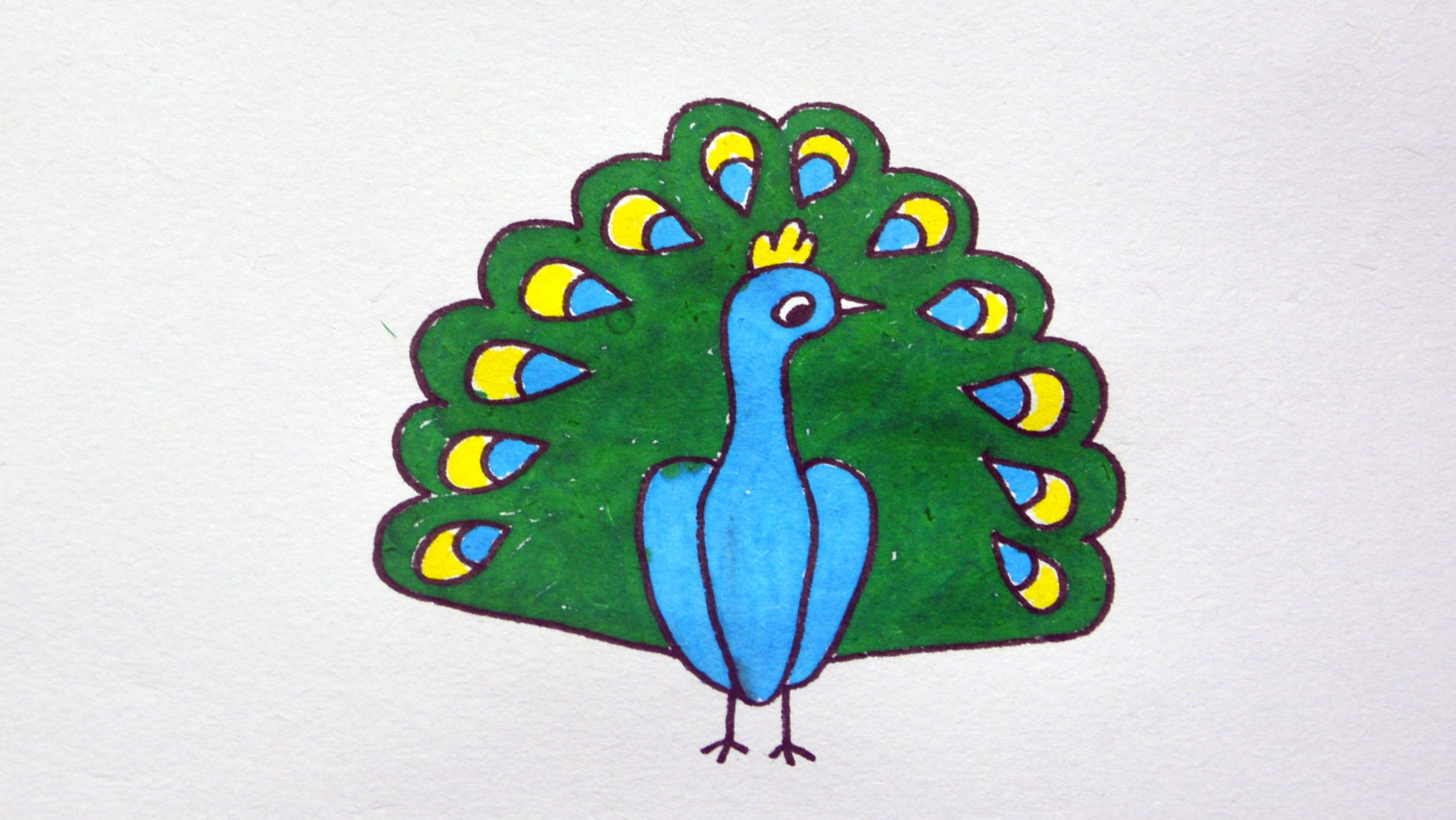 儿童简笔画孔雀,教孩子简单画出孔雀开屏简笔画