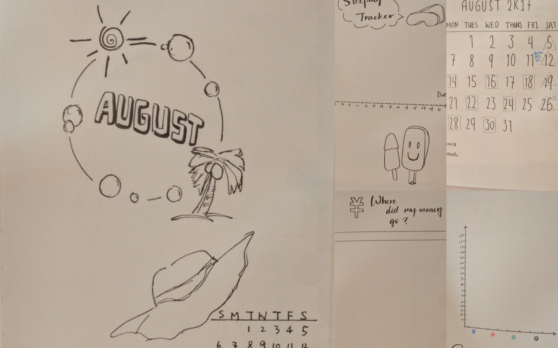 手帐封面设计_「白云君」【手帐】八月手帐封面制作