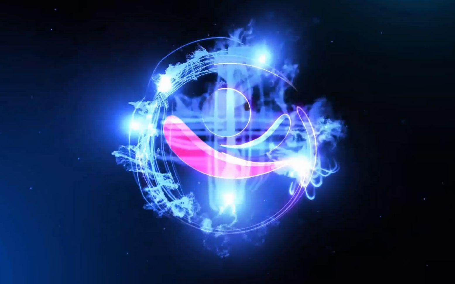 895梦幻蓝色光效粒子飞舞汇聚标志logo演绎片头ae模板