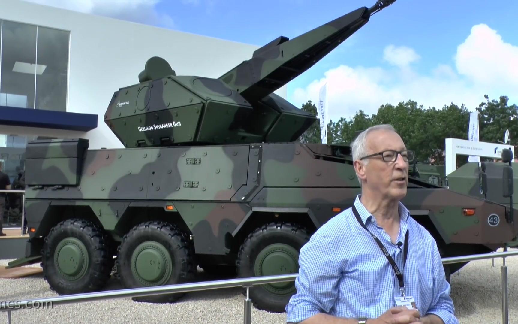 2018欧洲萨托里防务展- 莱茵金属公布装备厄利空Skyranger防空系统的拳击手装甲车