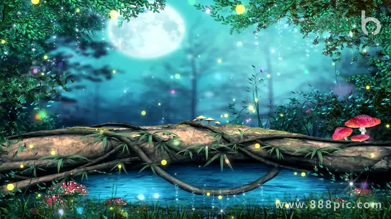 唯美梦幻森林led背景动态大屏主视觉图片
