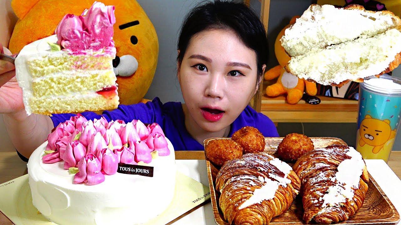 【卡妹】花心蛋糕奶油奶油橡胶糯米甜甜圈吃播Mukbang(2019年9月2日11时30分)
