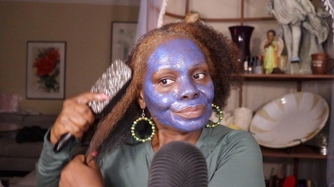 【百变阿姨】头发常规试穿蓝色闪光皮面膜(2019年9月11日6时16分)