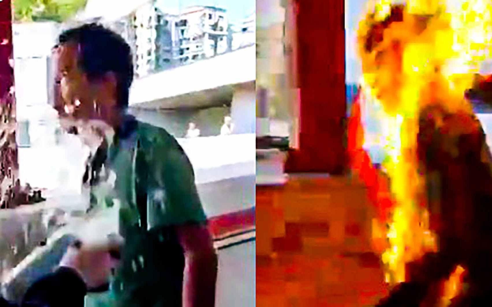 【实录】丧心病狂!香港暴徒街头点火烧人