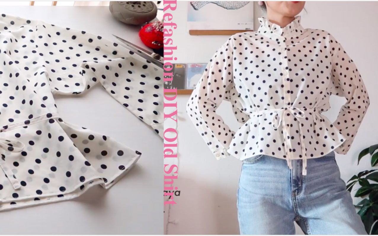madebyaya - 改造旧衣计划-Refashion DIY Convert Old Shirt into Frill Collar Blouse