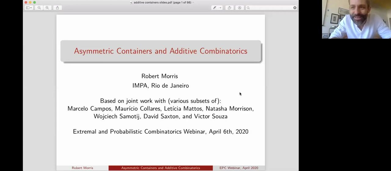 Rob Morris on Asymmetric containers and additive combinatorics