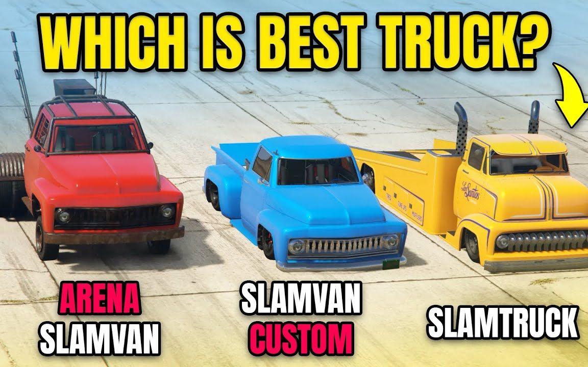 """【GTA5测评】全新""""威皮·大满贯卡车"""" vs """"威皮·大满贯卡改装版"""" vs """"大满贯皮卡""""谁才是最好的卡车?"""