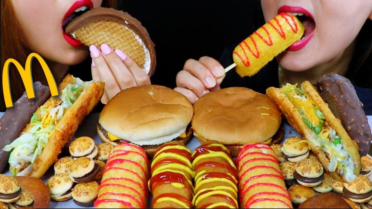【kim&liz】麦当劳芝士汉堡、玉米狗、巧克力玉米卷冰淇淋、巧克力汉堡(2019年9月17日22时46分)